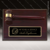 Engraved Rosewood Plaque Gavel Mounted Gold Band Black Plate Wall Plaque Aw All Gavel Trophy Awards