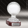 Crystal Sport Rosewood Accented Crystal Golf Ball Trophy Award Ball Trophy Awards