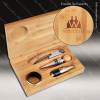 Engraved Etched Wine Tool Set Bamboo 4 Piece Gift Set Award Bamboo Wine Boxes & Tool Sets
