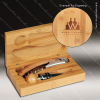 Engraved Etched Wine Tool Set Bamboo 2 Piece Gift Set Award Bamboo Wine Boxes & Tool Sets