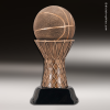Premium Resin Bronze Sports Theme Basketball on Net Trophy Award Basketball Trophies
