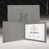 The Japel Engraved Leather Certificate Holder Grey With Black Letters Certificate Holders
