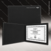The Japel Engraved Leather Certificate Holder Black With Silver Letters Certificate Holders