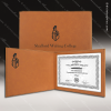 The Japel Engraved Leather Certificate Holder Rawhide With Black Letters Certificate Holders
