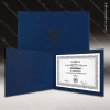 The Japel Engraved Leather Certificate Holder Blue With Black Letters Certificate Holders