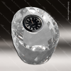 Engraved Crystal  Desk Clock Silver Accented Faceted Paperweight Trophy Awa Clock Crystal Awards