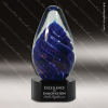 Artistic Blue Accented Jasmine Abstract Art Glass Sculpture Abstract Trophy Corporate Trophy Awards