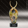 Artistic Black Accented Art Glass Gold Jaffey Curve Trophy Award Corporate Trophy Awards