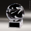 Artistic Black Accented Art Glass Sculpture Sphere Trophy Award Crystal Art Trophy Awards