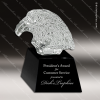 Crystal Black Accented Eagle Head Trophy Award Crystal Sculpture Trophy Awards