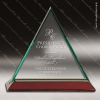 Jackson Triangle Glass Rosewood Accented Trophy Award Diamond Shaped Glass Awards