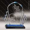 Acrylic Blue Accented Faceted Impress Award Employee Trophy Awards