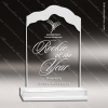 Acrylic  Clear White Cap Edge Award Employee Trophy Awards