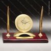 Engraved Rosewood Desk Clock Gold Accented Clock With Double Pen Award Engraved Clock Pen Desk Sets