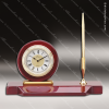Engraved Rosewood Desk Clock Gold Accented Clock With Single Pen Award Engraved Clock Pen Desk Sets