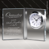 Engraved Crystal  Desk Clock Silver Accented Open Book Trophy Award Engraved Crystal Finish Desk Clocks