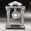 Engraved Crystal  Desk Clock Silver Accented Roman Pillars Trophy Award Engraved Crystal Finish Desk Clocks