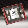 Engraved Flask Stainless Steel 6 Piece Boxed Gift Set Award Brush Silver Engraved Flask Gift Sets