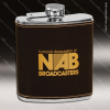 Engraved Leather Flask 6 Oz. Black Gold Etched Gift Award Engraved Leather Wrapped Flasks