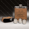Engraved Leather Flask 7 Oz. Light Brown Etched Shot Glass Gift Set Award Engraved Leather Wrapped Flasks