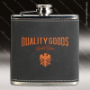Engraved Leather Flask 6 Oz. Dark Gray Orange Etched Gift Award Engraved Leather Wrapped Flasks