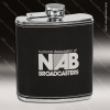 Engraved Leather Flask 6 Oz. Black Silver Etched Gift Award Engraved Leather Wrapped Flasks