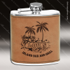 Engraved Leather Flask 6 Oz. Light Brown Etched Gift Award Engraved Leather Wrapped Flasks