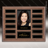 The Jordan Walnut Veneer Perpetual Plaque  12 Black Magnet Plates Photo Engraved Photo Perpetual Plaques