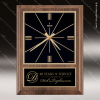 American Walnut Vertical Wall Clock with Square Face. Engraved Plaque Wall Clocks