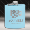 Engraved Stainless Steel Flask 6 Oz. Powder Coated - Light Blue Engraved Stainless Flasks