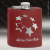 Engraved Stainless Steel Flask 6 Oz. Powder Coated - Maroon Engraved Stainless Flasks