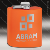 Engraved Stainless Steel Flask 6 Oz. Powder Coated - Orange Engraved Stainless Flasks