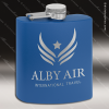 Engraved Stainless Steel Flask 6 Oz. Powder Coated - Royal Blue Engraved Stainless Flasks