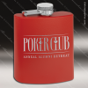 Engraved Stainless Steel Flask 6 Oz. Powder Coated - Red Engraved Stainless Flasks