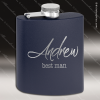 Engraved Stainless Steel Flask 6 Oz. Powder Coated - Navy Blue Engraved Stainless Flasks