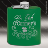 Engraved Stainless Steel Flask 6 Oz. Powder Coated - Green Engraved Stainless Flasks