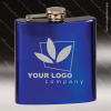 Engraved Stainless Steel Flask 6 Oz. Blue Gift Award Engraved Stainless Flasks