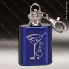 Engraved Stainless Steel Mini Flask 1 Oz. Blue Keychain Gift Award Engraved Stainless Flasks