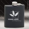 Engraved Stainless Steel Flask 6 Oz. Black Matte Gift Award Engraved Stainless Flasks