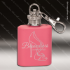 Engraved Stainless Steel Mini Flask 1 Oz. Pink Keychain Gift Award Engraved Stainless Flasks