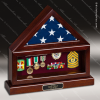 USA Engraved  Cherry Hardwood Veteran Retirement Flag Case Shadow Box Flag Display Case