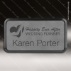 Laser Etched Engraved Gray Leather Name Badge Black Frame Magnet Backed Gray Leather Name Badges