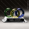 Artistic Multi Color Art Glass Chiao Trident Trophy Award Green Accented Artisitc Awards