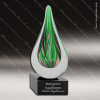 Malathion Greens Artistic Green Accented Art Glass Teardrop Trophy Award Green Accented Artisitc Awards
