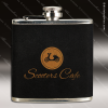 Engraved Leather Flask 6 Oz. Black Velvet Gold Etched Gift Award Leather Flask Gifts