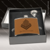 Engraved Flask Stainless Steel With Funnel Boxed Gift Set Brown Leather Leather Flask Gifts