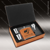 Engraved  Leather Flask Gift Set Funnel Shot Glasses Boxed Rawhide Etched Leather Flask Gifts