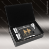 Engraved  Leather Flask Gift Set Funnel Shot Glasses Boxed Black Gold Etche Leather Flask Gifts