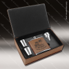 Engraved  Leather Flask Gift Set Funnel Shot Glasses Boxed Dark Brown Etche Leather Flask Gifts