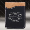 Laser Engraved Leather Phone Wallet Black Silver Etched Gift Leather Phone Wallets